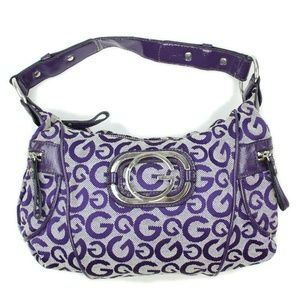 Guess Purple Signature Logo Shoulder Bag